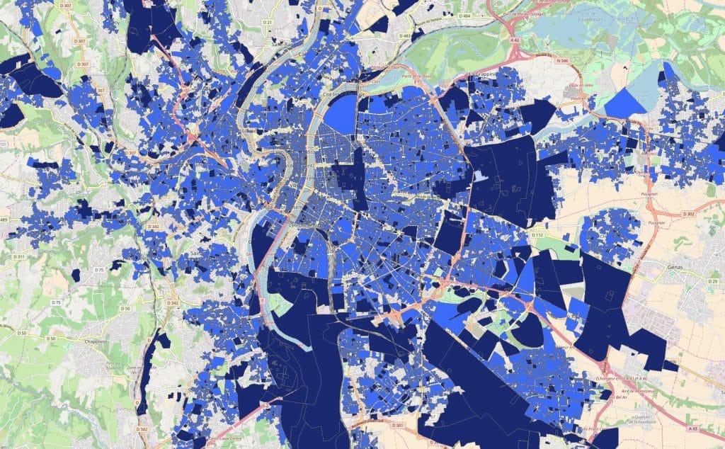 Carte de la couverture de la fibre pour les entreprises du Grand Lyon